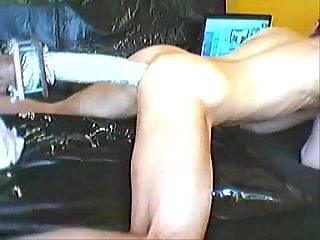 Extra huge dildo in fucking machine