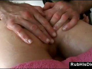 Massage bear sucks straight male guy during massage
