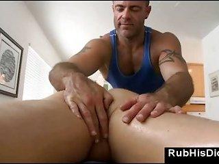 Gay massage bear seducing straight guy during massage at home