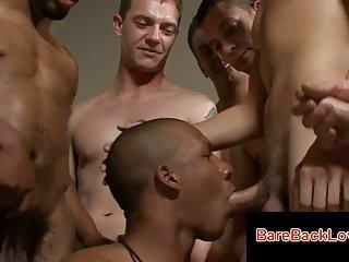 Interracial cock sucking orgy with hot gay boys
