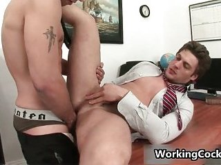 Andrew Blue gets his firm cock sucked in office
