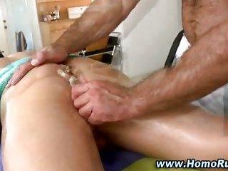 Straight gay massage dildo play