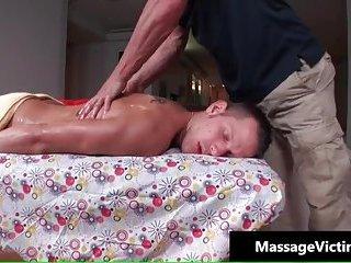 Nasty guy hunk gets oiled massage