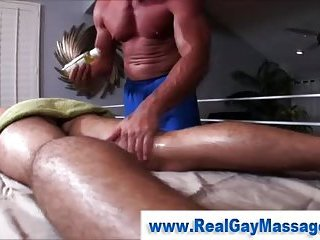 Straighty strips down for massage