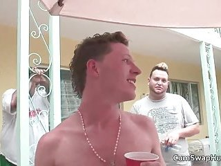 Exciting gay hunks Gene Hawk and Brenden Banks having party