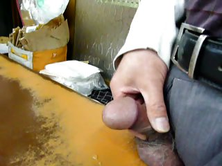 Japanese old man masturbation in his shop