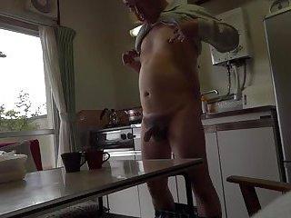 Japanese old man making coffee