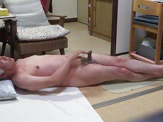 Japanese old man masturbation feeling good