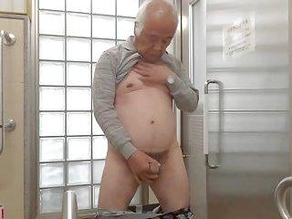 Japanese old man masturbation semen flows