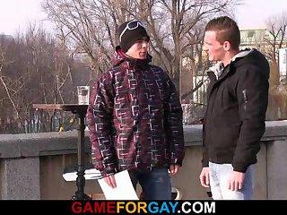 Gay dude picks up and fucks a straight guy