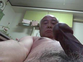 Japanese old man all naked self handjob