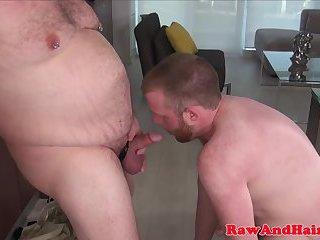 Superchub bear sucking wolf before bareback