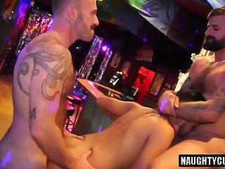 Hairy boy threesome with cumshot