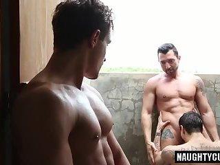 Big dick boy threesome and cumshot