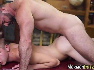 Mormon twink cums tugging