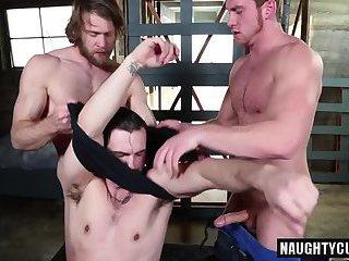 Big dick gay threesome and cumshot