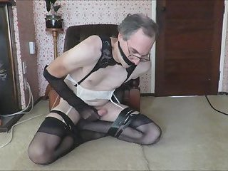 Gagged Poofter in Stockings is a Wanker