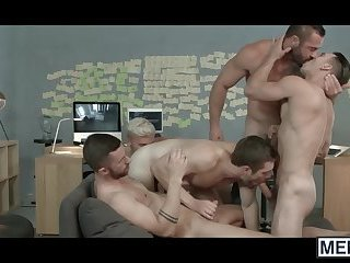 Multiple horny gays in heat are having an anal fuck fest