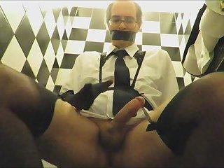 CD Business Man wanks in Public Toilet