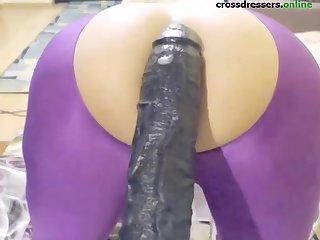 crossdresser take in ass big black dildo