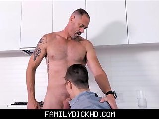 Step Son Sucks Daddy's Cock In Kitchen