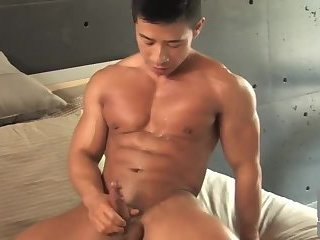 Asian Muscle Jerks Off