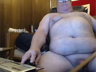 Big belly dad smacks his cock with a ruler
