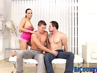 Bisex hunk rides and cums