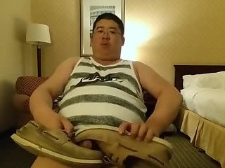 Asian chunk loves his smelly shoes