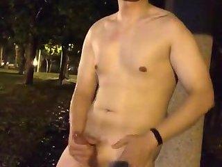 Korean boy jerking off outside
