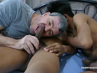 Daddy and Asian Boys Raw Threesome