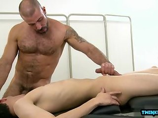 Brunette twink anal sex and massage