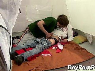 Adorable gay dudes Patrik Janovic and Karel Fox fuck in tent