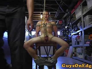 Bound hunk edged before being allowed to cum