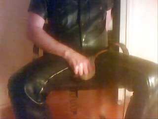 Amateur Leather Glove Masturbating