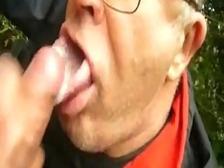 Mature gays take facials outdoor