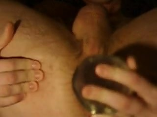 Mad gay shoves glass dildo in his anal