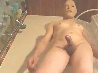 Taking shower in mask & jack off