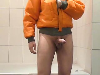 Solo Gay In Rubber Boots Pissing & Jerking Off