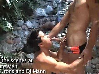 Depraved slamming near the waterfall