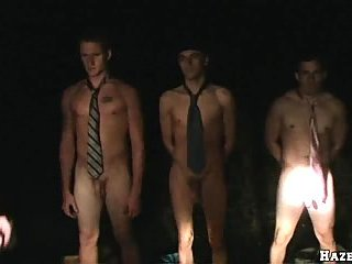Nude guys in ties in the night
