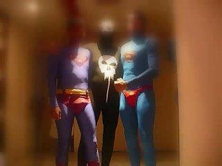 Supermen and spiderman erotic battle