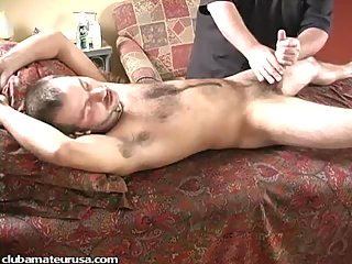 Gay cumshot after satisfactory handjob