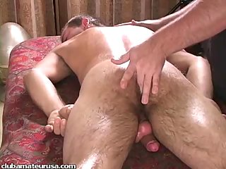 Stud asshole fingering and cock stroking
