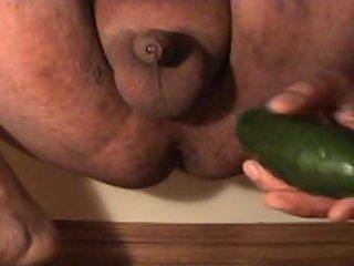 Fat guy jerking tiny cock stuffs ass