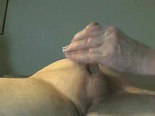 Amateur lewd handjob & creams