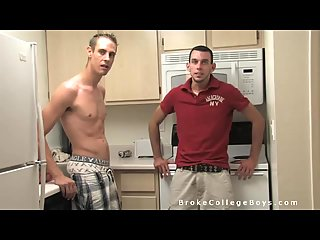 Hunks perfect blowing in the kitchen