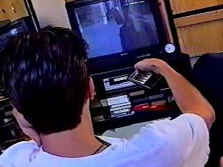 Chap masturbates by TV