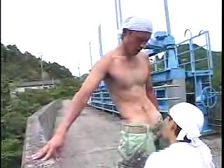 Asian Studs In Uniform Outdoor Romping