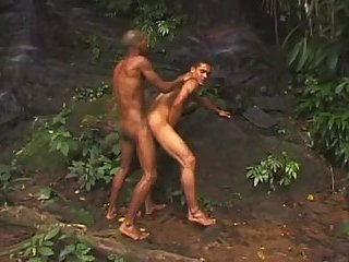 Swarthy gays fuck in a jungle